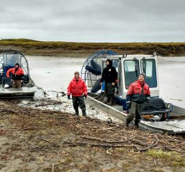Alpine Spill Response Team practicing airboat operations and river response tactics