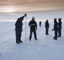 Ice thickness profiling on the sea ice near Northstar Island on the Arctic Ocean
