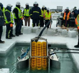 Demonstrating recovery of oil under ice (Tactic R-14) using a Lamor LAM-12 Brush Skimmer during BSEE Spill Response Team Equipment Deployment Exercise