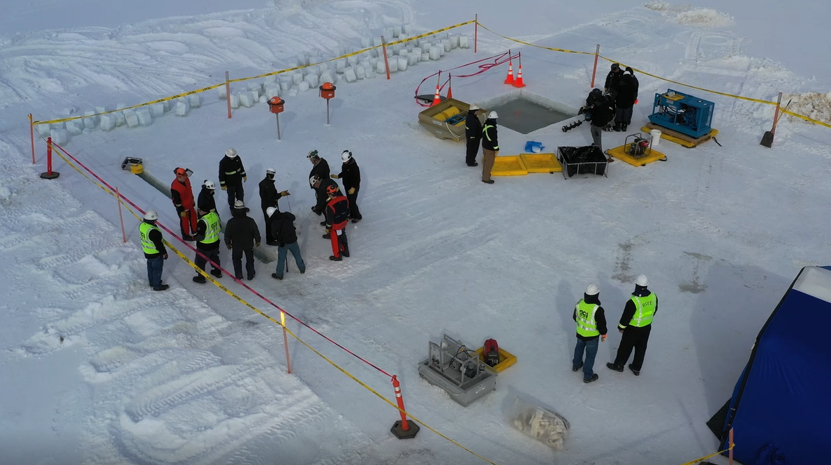 Winter Tactics demonstration on the sea ice by Northstar Spill Response Team