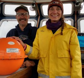 Spill Response Team members practice with MetOcean iSphere oil spill tracking buoys